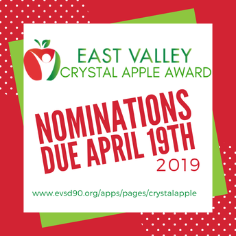 CRYSTAL APPLE NOMINATIONS DUE APRIL 19TH
