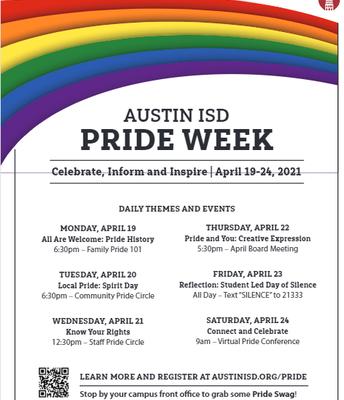 Teacher Resources-  Austin ISD Pride Week (April 19-24)