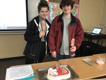 For APUSH, Juniors Riley Groth and Damon Drury demonstrating why the Meat Inspection Act was a key piece of Progressive Era legislation