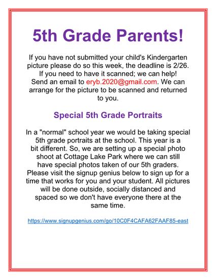 5th grade parents submit child's kindergarten picture online