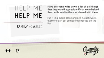 CHARACTER STRONG: Family Dare: Help Me Helpl Me