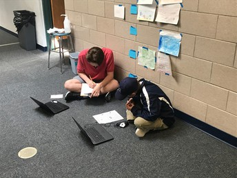 High school students at work