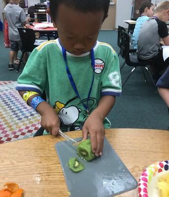 PK making fruit salad!