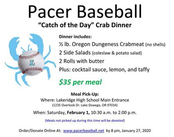 Pacer Baseball crab dinner flyer