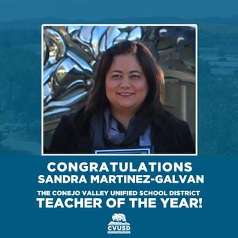 ¡Felicitaciones a Sandra Martinez-Galvan, la maestra del año 2019-2020 de CVUSD!