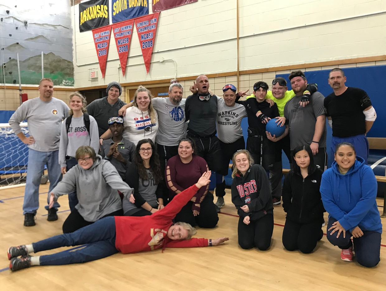 Staff and students are shown in the gymnasium after the recent Staff Student Goalball match.