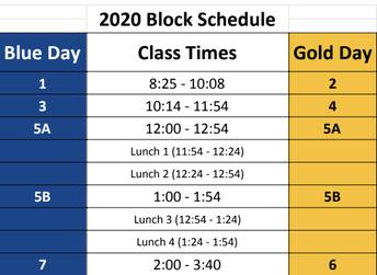 2020-2021 Block Schedule