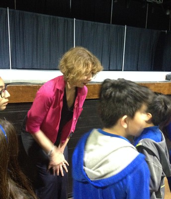 Joan Bauer with Palacios students