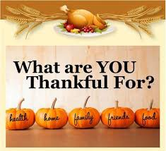 Graphic and words. What are you thankful for? and pumpkins with the words health, home, family , friends & food.