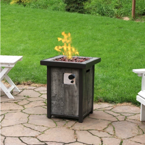 Sunnydaze Outdoor Propane Gas Fire Pit Table with Weathered Wood Look - 25-Inch