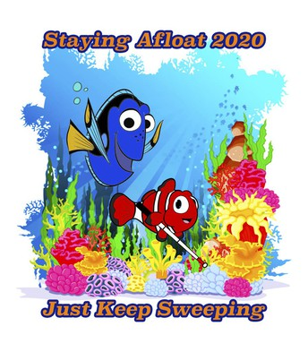T-Shirt Design - Cartoon Fish with slogan Staying Afloat 2020 - Just Keep Sweeping