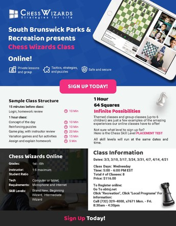 SOUTH BRUNSWICK PARKS AND RECREATION NEWS - CHESS WIZARDS FOR GRADES 1-6