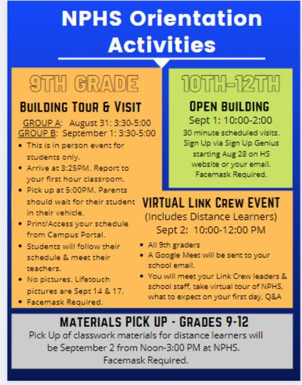 Please note Materials Pick-Up for Distance Learners Grades 9-12