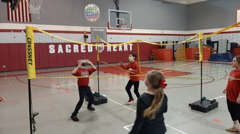 Mrs. Kovick provides indoor recess fun for our students