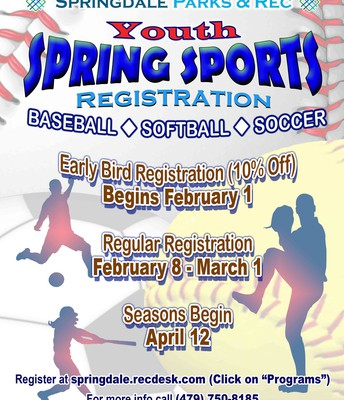 Youth Center spring sports sign ups are happening now!