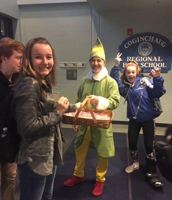Mr. Nemphos welcomes students at CRHS prior to winter break