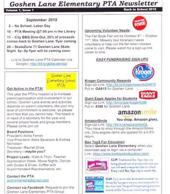 Goshen Lane Elementary PTA Newsletter