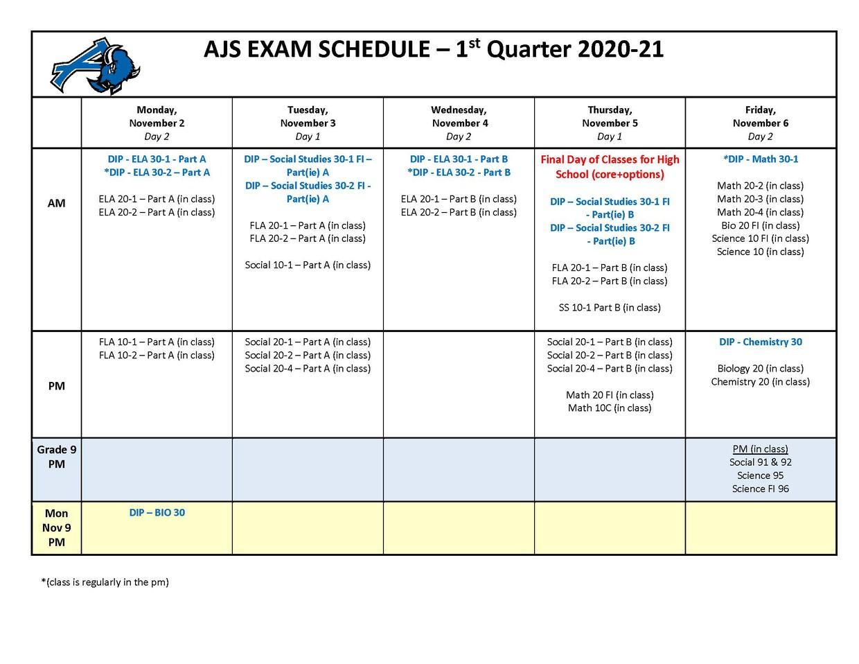 AJS Exam Schedule - 1st Quarter