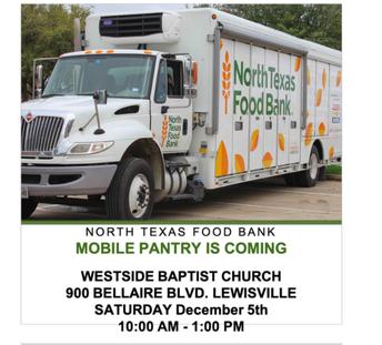 North Texas Food Bank @ Westside Baptist Dec. 5th