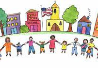 drawn people holding hands in front of school & buildings