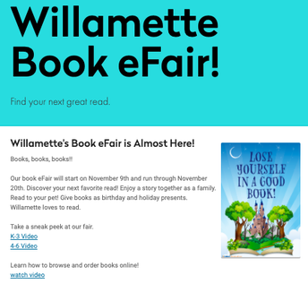 Willamette Primary's Book Fair is Back! November 9th-20th