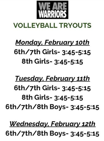 Westfield Volleyball Team Tryout Information