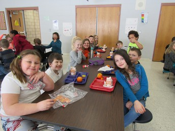 Students enjoy being able to eat and talk with their classmates during lunch.
