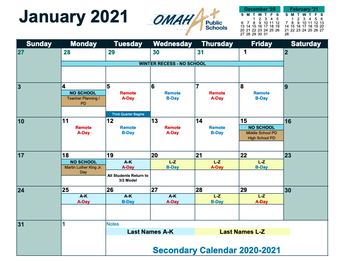 Second Semester School Calendar
