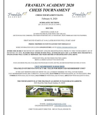 On campus Chess Tournament-February 8th
