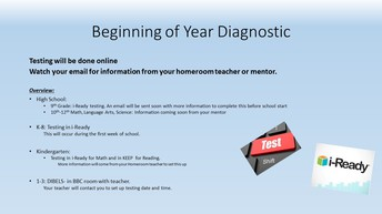 Beginning of School Year Diagnostic Testing