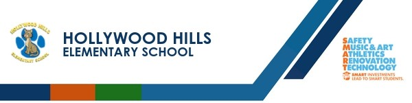 A graphic banner that shows  Hollywood Hills Elementary School's name and SMART logo