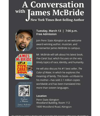 NYT Best-Selling Author James McBride at PSU Abington