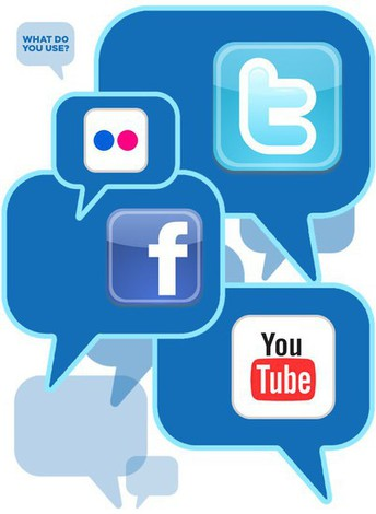 Picture of social media platforms such as you tube, facebook