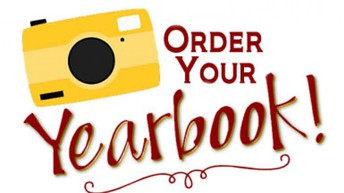 Yellow camera, white background, red text saying Order your yearbook!