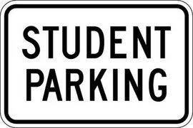 Student parking and senior parking spaces: