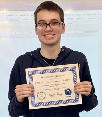 Connor earns ASPIRE employee of the month certificate