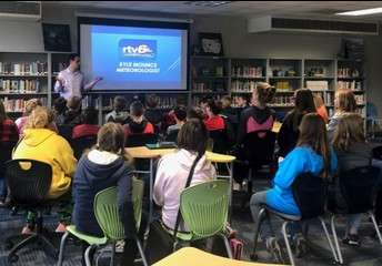 RTV 6 Meteorologist visits our 6th graders
