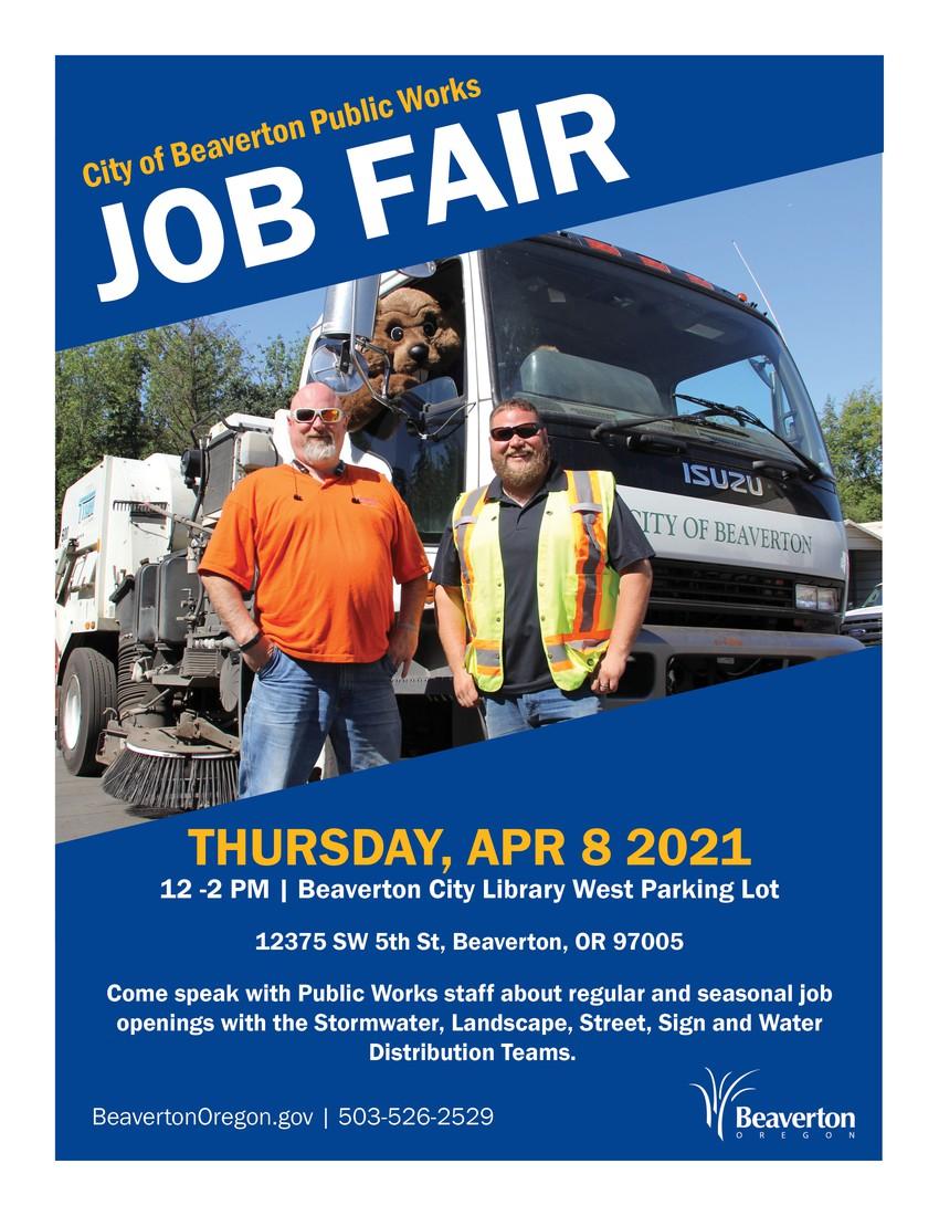 City of Beaverton Public Works Job Fair graphic