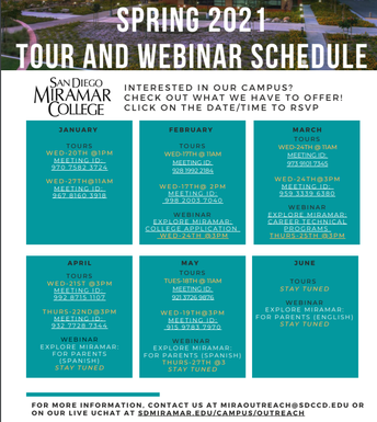 Tour and Webinar Schedule