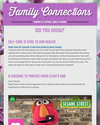 Family Connections Newsletter - Activity Ideas for you and your family