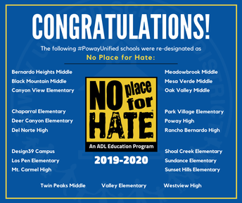 21 Poway Unified Schools Re-Designated as No Place for Hate