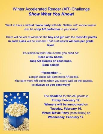 Hope-Hill's AR Challenge deadline is Friday, February 12!