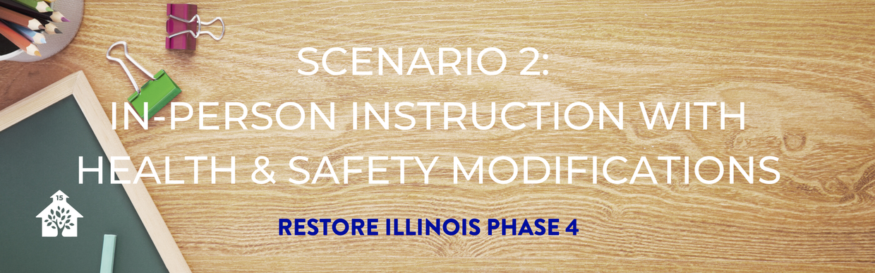 Scenario 2: In-person instruction with health & safety modifications. Restore Illinois Phase 4