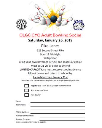 OLGC CYO Adult Bowling Social - LAST CALL!