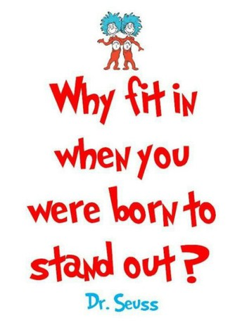 THOUGHT FOR THE MONTH:  Why fit in when you were born to stand out?