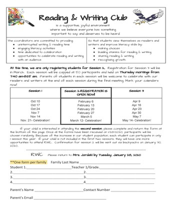 Reading & Writing Club Session 2 Registration