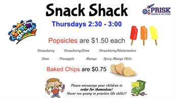 Snack Shack on Thursdays!