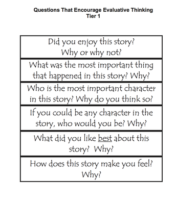 Questions that Encourage Evaluative Thinking