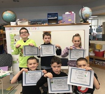 2nd grade Perfect Attendance Awards for February 2018