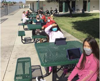 SCA-Mathew Bears taking their classwork outside!